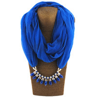 Charms Scarf 2017 Women Fashion Luxury Bosnia Bullet Pendant Scarf Jewelry Scarves Necklace Scarf Blue Black