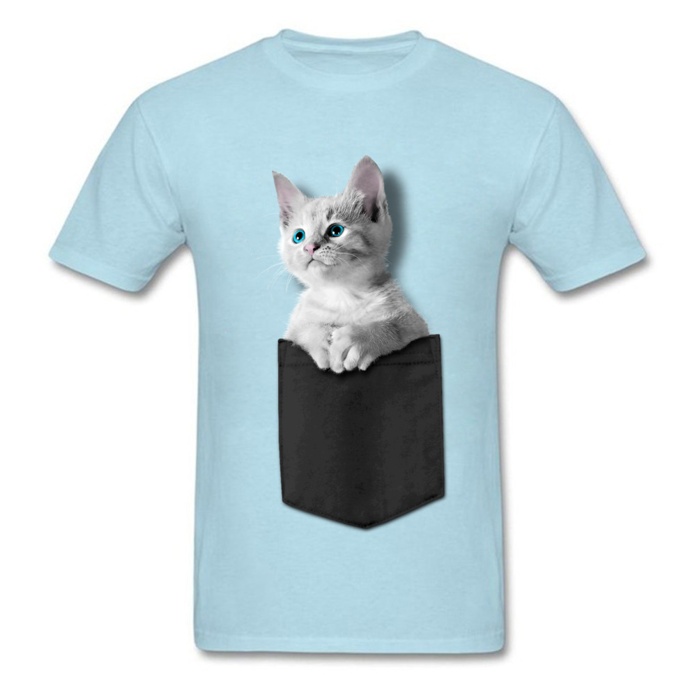 Pocket Kitten 100% Cotton Men Short Sleeve Tops Tees Normal NEW YEAR DAY Tshirts Custom T-shirts 2018 Newest Round Collar Pocket Kitten light