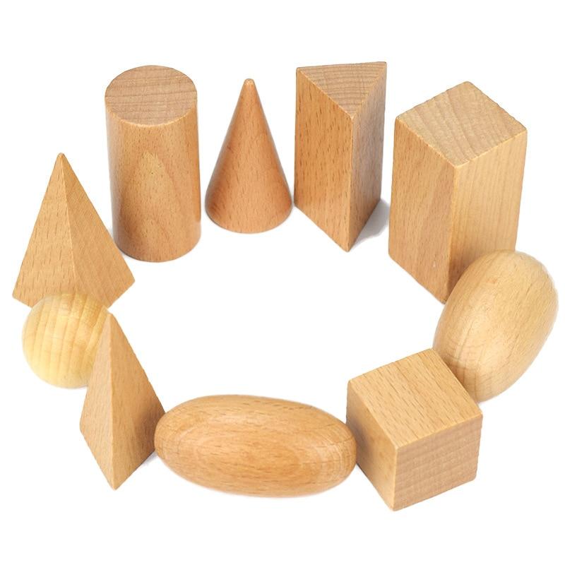 Learning & Education Teaching Aids Cognitive Math Toys Montessori Wooden Geometric Shapes Solids Geometry Blocks Set 10pcs/set