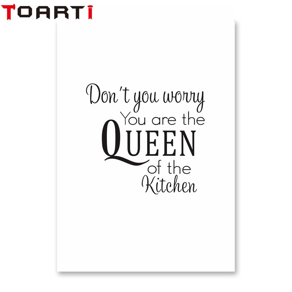 Don 39 T You Worry You Are The Queen Of The Kitchen Modern Fashion Quote Home Decor Poster Wall Art Print Picture Living Room Decor in Painting amp Calligraphy from Home amp Garden