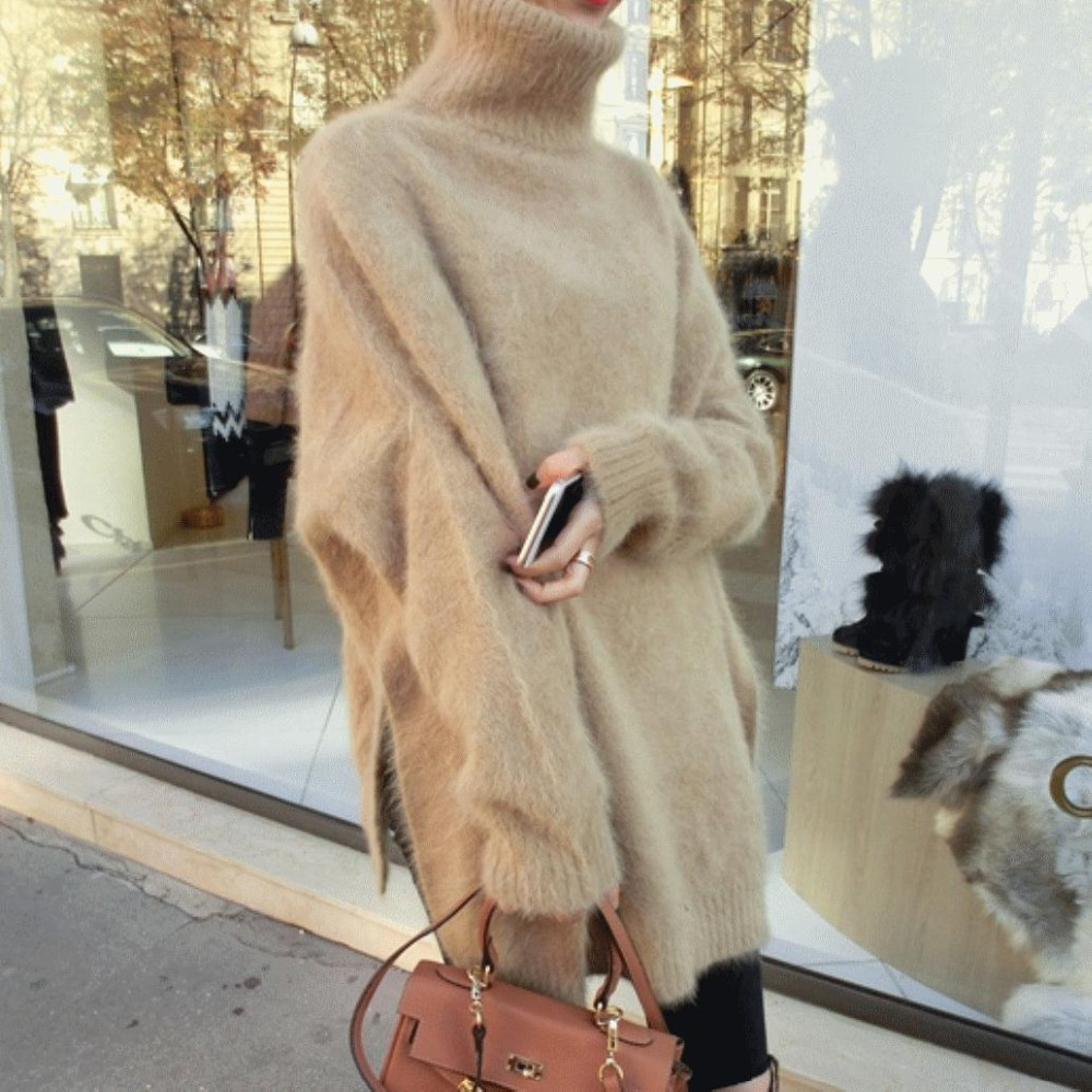 Fuzzy Angola Sweater Coat Female Temperament Loose Bat Sleeve Mink Cashmere Turtleneck Sweater Custom Size Free