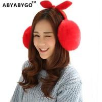 ABYABYGO Hair Accessories For Women Bow Headband Faux Fur Hair Bows Girls Warm Christmas Hairband Haar