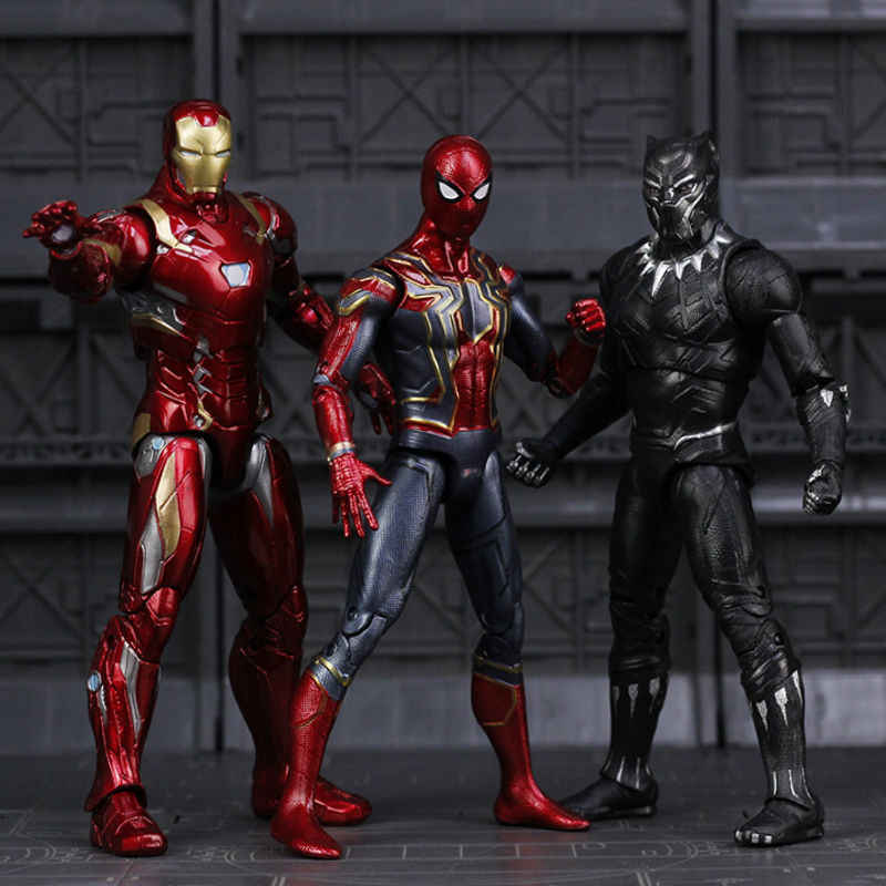 Marvel Avengers Endgame Iron Man Spiderman Spider Ironman Thanos Thor Hulk Captain America Action Figures, Mainan untuk Anak-anak Anak Laki-laki