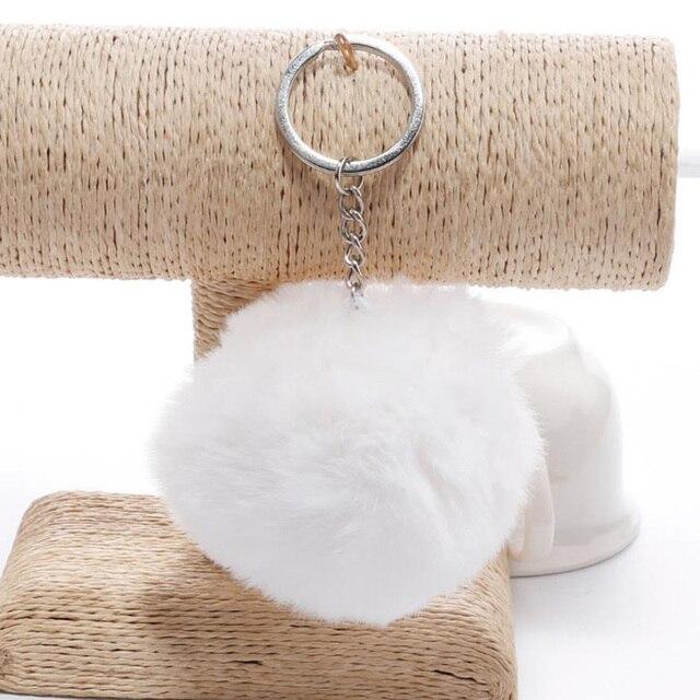 simple key chain Fur ball Pompon Keychain Pompom Artificial Rabbit Fur Animal Keychains For Woman Car Bag KeyRing 14 colors 1
