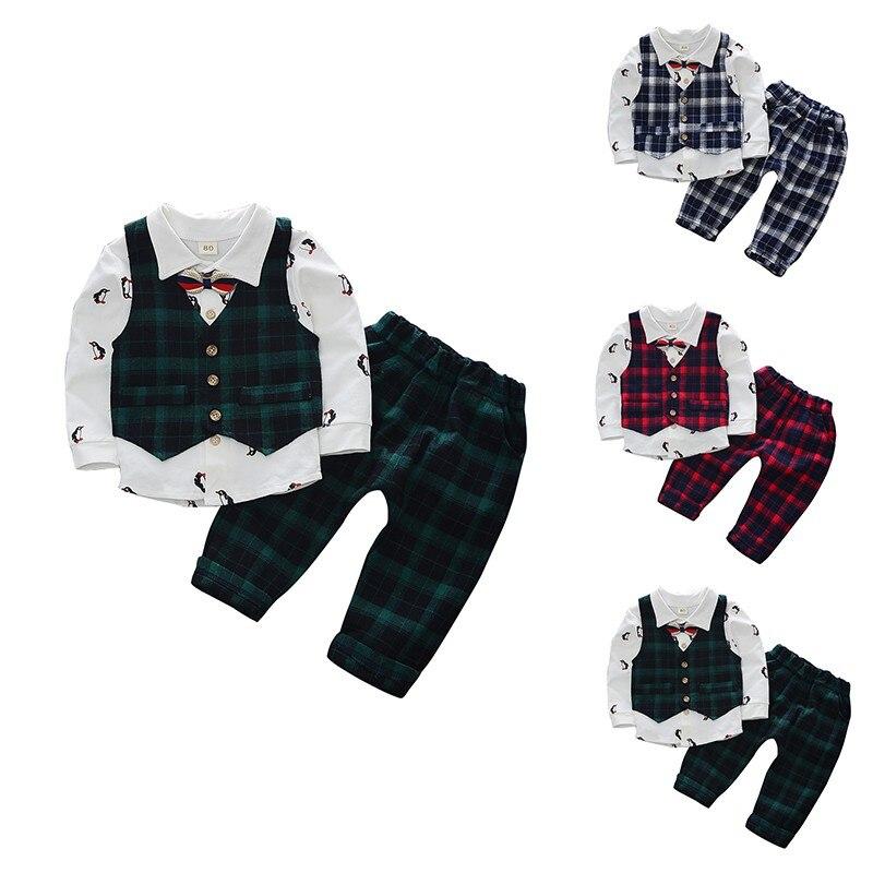 3pcs Clothes Set Baby Boys Spring Autumn Long Sleeve Cartoon Top+Plaid Full Pant+Vest Coat Set Kids Children Suit