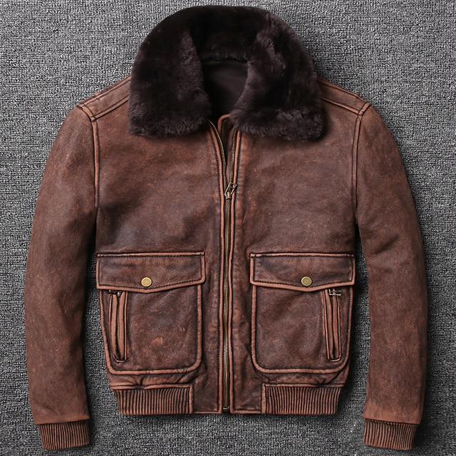 ad308174191 2018 air force winter flight jacket fur collar vintage cow leather jacket  men brown pilot coat men s leather bomber jacket