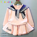 Autumn Toddler Girls Clothes Set Kids Student Uniforms Design Top+Skirts 2pcs Baby Girl Outfit Children boutique Clothing BC1275