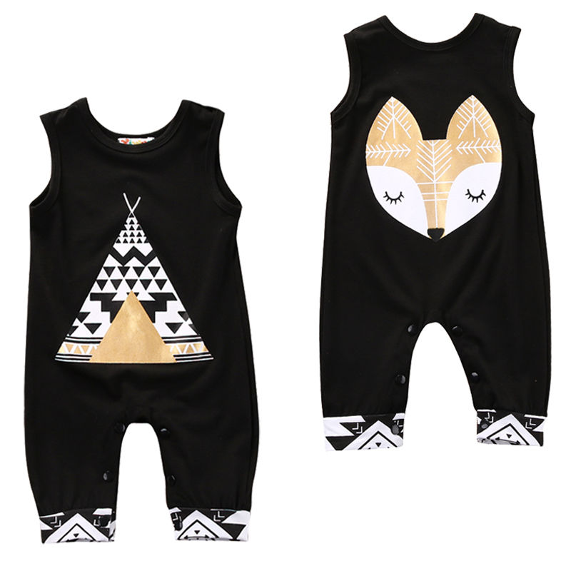 Newborn Infant Toddler Kids Baby Clothing Boy Girl Summer Sleeveless Romper Fox Geometry Jumper Jumpsuit Outfits Clothes 0-24M