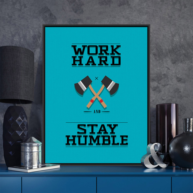Modern Minimalist Motivational Typography Work Hard Blue Quotes Art Prints Poster Wall Picture Canvas Painting Office Decor