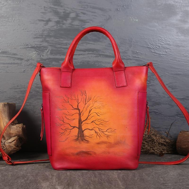 Genuine Leather Women Handbag Bolsa Feminina Vintage Cowhide Designer Crossbody Bag Tree Messenger Bag Sac a main designer luxury femal handbag leather panelled shoulder bags women messenger crossbody bag bolsa feminina sac a main femme