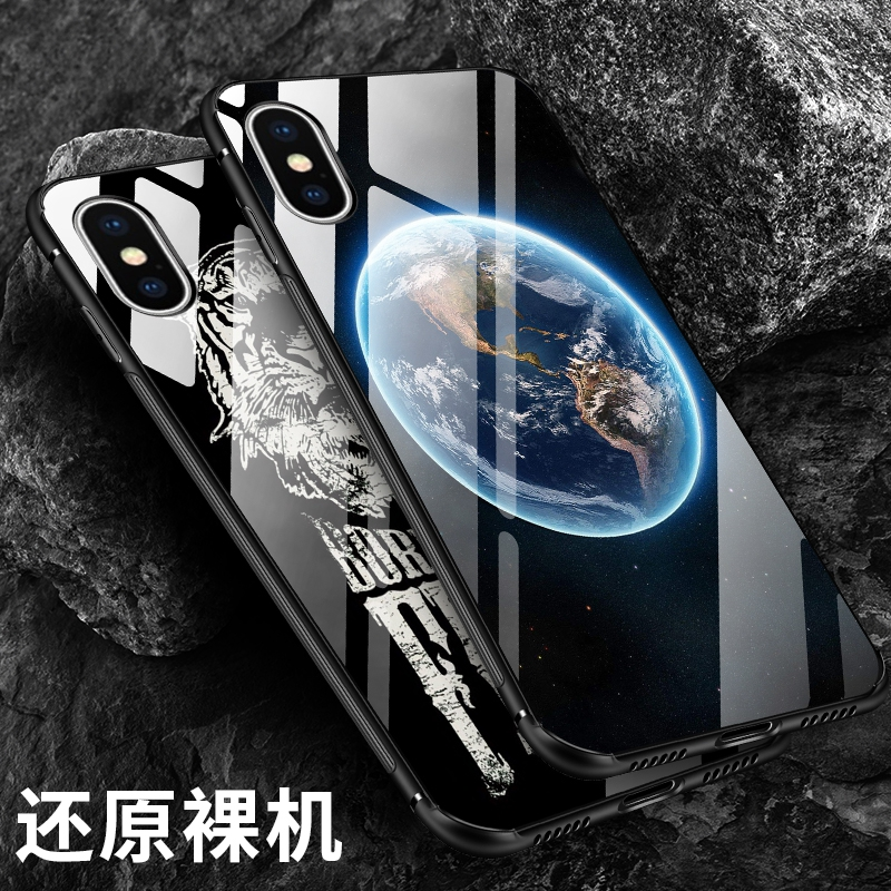 Space Moon Cartoon Case For iPhone X i10 Soft TPU Silicon & Tempered Glass Phone Cases For Samsung Note8 S8 S8Plus Back Cover