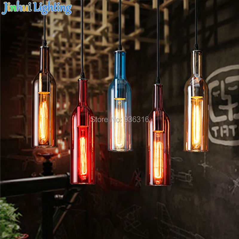 6 colors colorful wine bottle glass North Europe brief modern pendant lamps for resteraunt,coffee shop,snack shop ceiling lamp professional glass bottle cutter wine bottle cutting tools glass tool high quality home household accessories