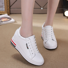 Genuine Leather Wedges Women Casual Shoes Lace Up Hide Heel Fashion Sneakers Shallow White Size 34-40 XU018