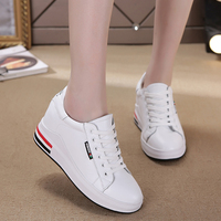Genuine Leather Wedges Women Casual Shoes Lace Up Hide Heel Fashion Sneakers Women Shallow White Sneakers Size 34 40 XU018