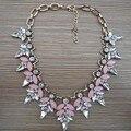 2015 Nueva Joyería de Moda Para Mujer Rosa Rhinestone Claro Crystal Choker Collar Señora Jewelry Gargantilla Bib Collares Colgantes