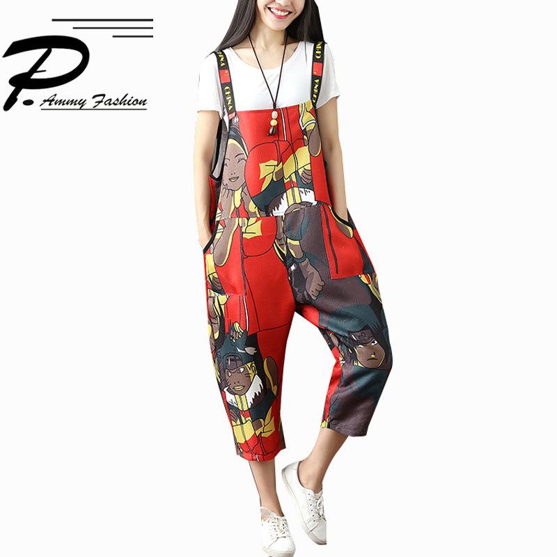 Womens New Summer Casual Strap   Romper   Pants Jumpsuit Trousers Ladies spring Fashion Cartoon Loose Overalls Trousers