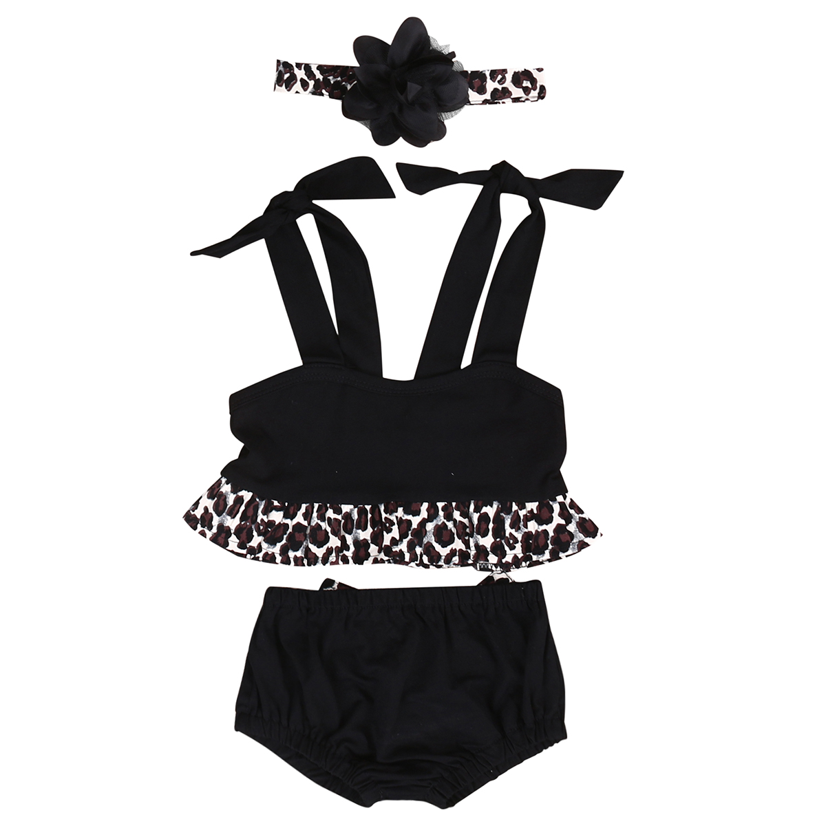 3pcs!!Newborn Infant Baby Girls Leopard Clothing+Shorts+Headband Newborn Baby Girl Clothes Set Jumpsuit Outfits Clothes