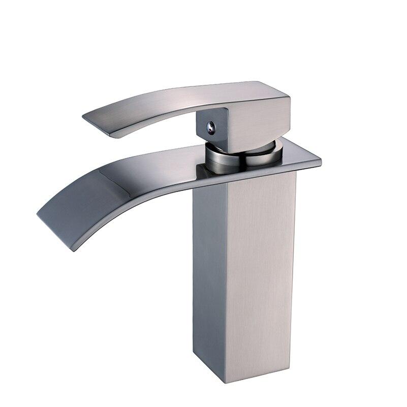 flg nickel brushed brass single lever waterfall faucet bathroom lavatory vessel sink basin mixer tap basin faucet