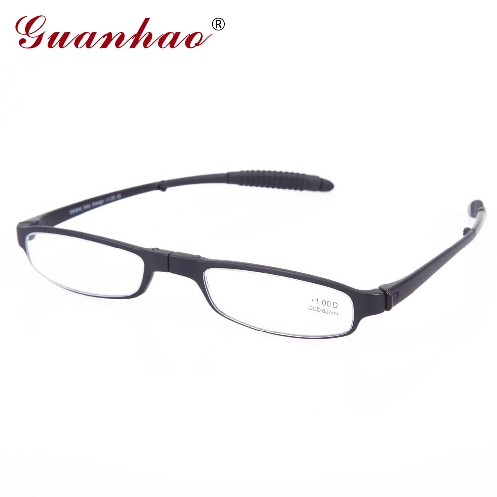 Guanhao Fashion Retro Fällbara läsglasögon med etui Män Kvinnor Plastram Smal Hyperopia Läsglasögon 1.0 1.5 2.0 2.5