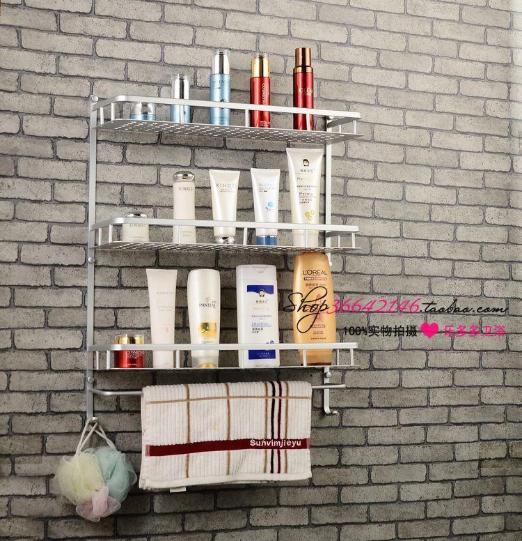 ФОТО 60cm Space aluminum bathroom shelf compartment blue three layer tape rod hook broadened alaminium shelf quartet