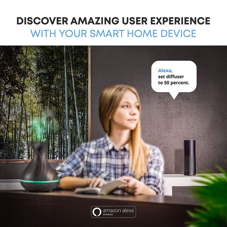 Smart Wifi Wireless Essential Oil Aromatherapy Diffuser with Alexa Google App Voice Control 400ml Ultrasonic Diffuser Humidifier