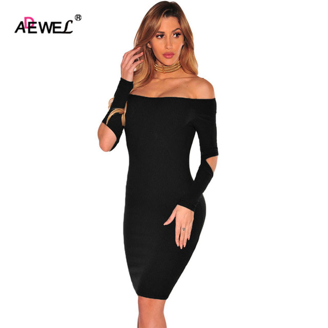 Adewel Sexy Dress Slash Neck Off Shoulder Sweater Dress 2016 Black