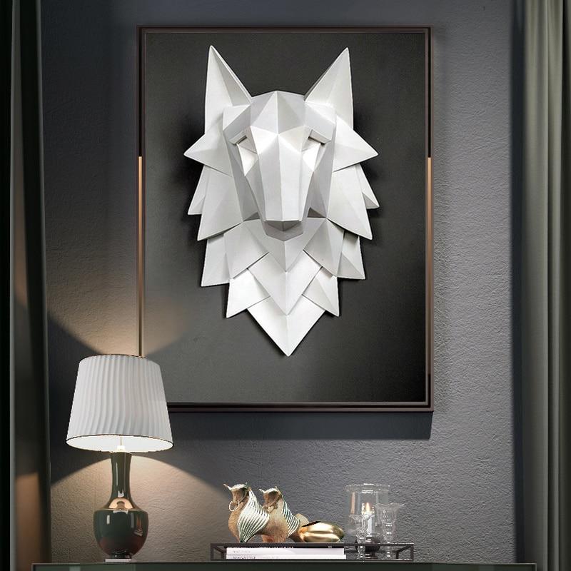 Home Decoration Accessories Wolf Head Sculpture Wall Hang Decor Nordic 3D Statue Living Room Mural Creative Bar Cafe Art Craft