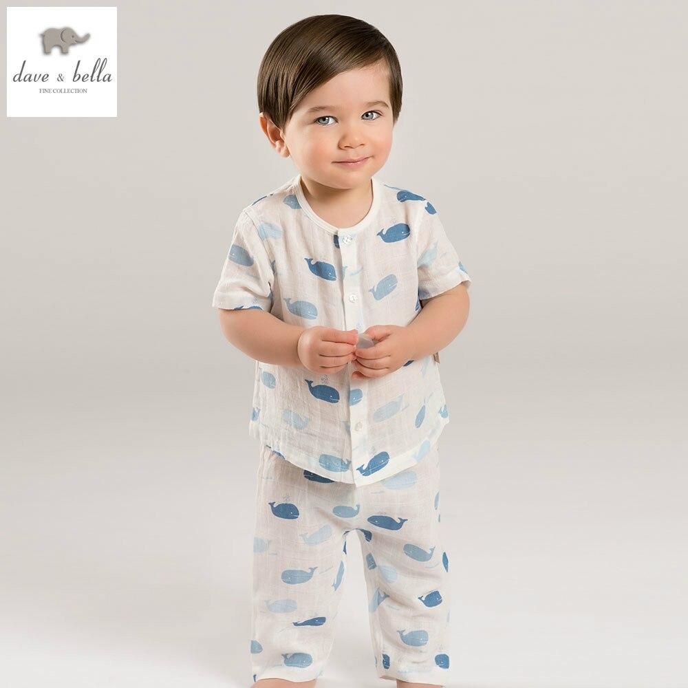 DB5225 Dave Bella Summer Guaze Sleeping Clothing Sets Children Summer Sleeping Wear