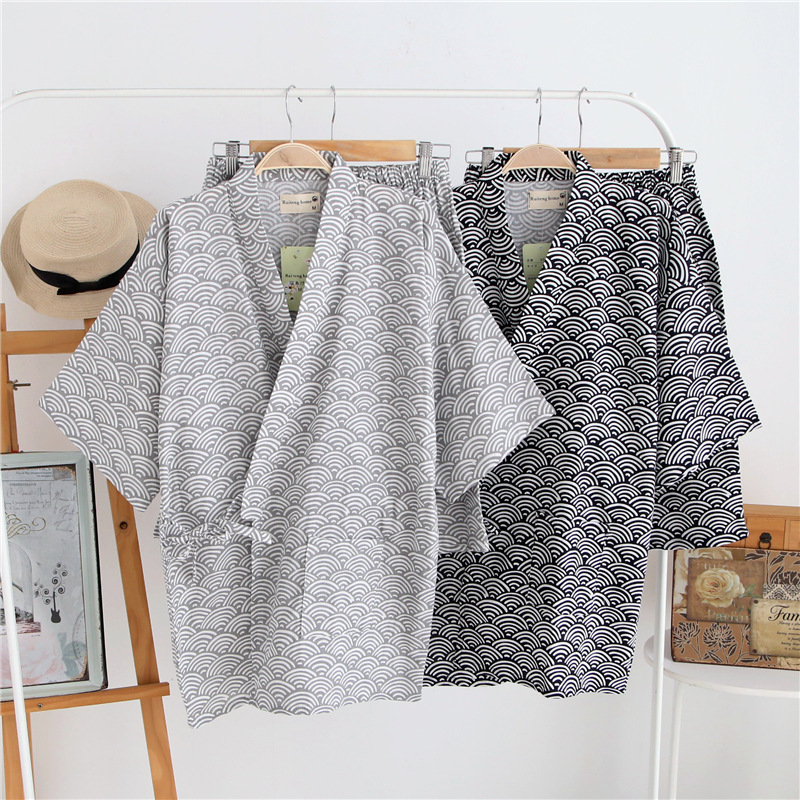 100% Cotton Gauze Short Sleeve Shorts   Pajamas   for Women Pijama Mujer Japanese Kimono Couple Pyjamas V-Neck Home Men   Pajama     Set
