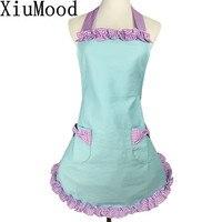 XiuMood Moda Aventais Para Mulher Céu Azul da Cor do Algodão Pano Home Kitchen Chef Cozinhar Cafe Garçom Avental Com Bolso Arco
