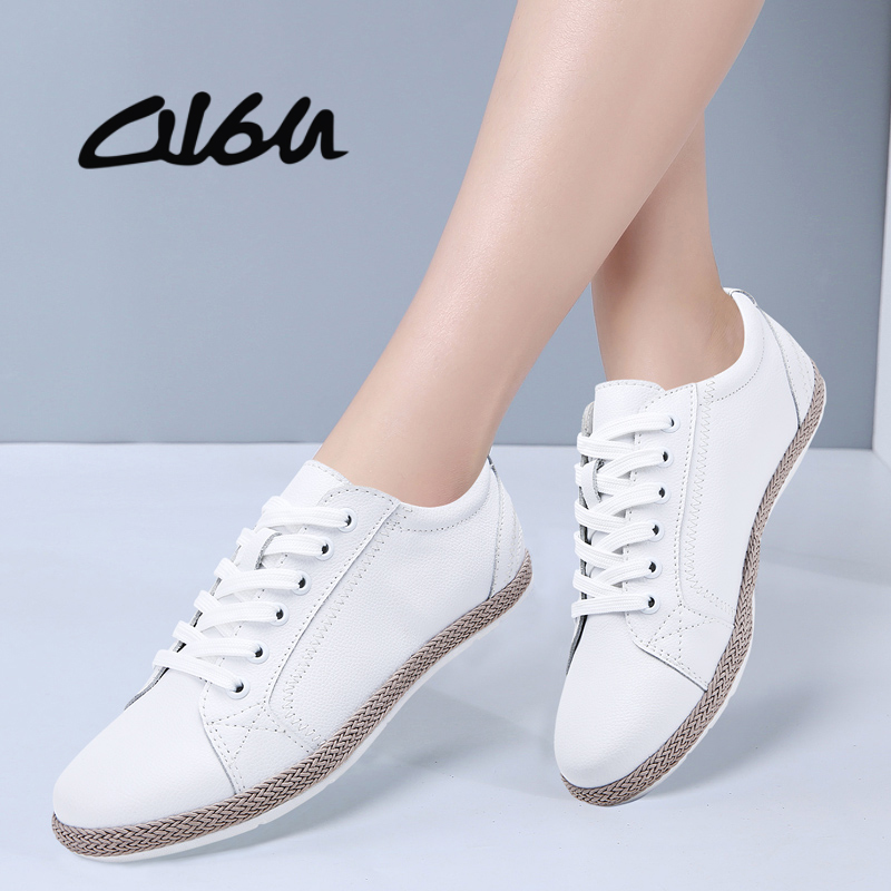 O16U 2019 Spring Sneakers Women Classic Flats Shoes Lace up Round Toe Flat Casual Shoes Ladies