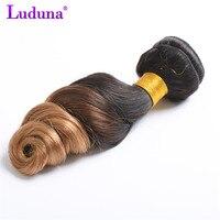 Luduna Ombre Brezilyalı Gevşek Dalga Saç Demeti 1 Adet Insan Saç Örgü Demetleri 1B/27 Renk 2 Ton Olmayan-remy Saç Uzantıları