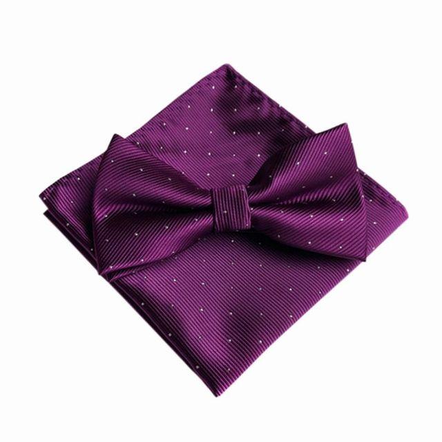 Hot 7 Color Men's Fashion Bow Ties Set Groom Gentleman Dots Cravat and Pocket Towel Handkerchief Wedding Party Business Ties T6 5