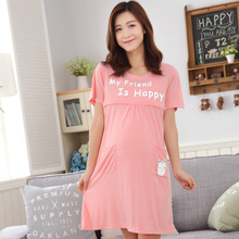 2019 Breastfeeding Maternity Wear Letters Cartoon Nursing Pajamas Cotton Pregnancy Nightwear Summer Nightwear Pregnant Dress