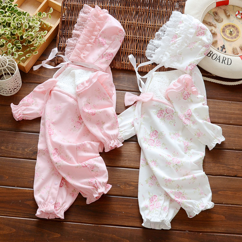 New Spring Bodysuit For Newborn Baby Girls 3 6 9 12 Months Cotton Bodysuit & Hat Kids Outfits Holiday Daily Party Baby Bodysuit