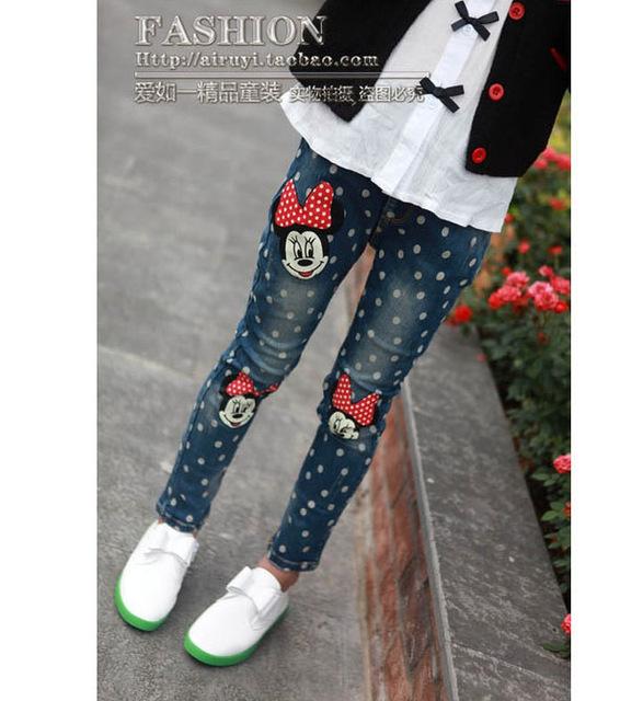 Los niños ropa de primavera y otoño 4-10year estilo fashion girl Jeans, pantalones de los niños
