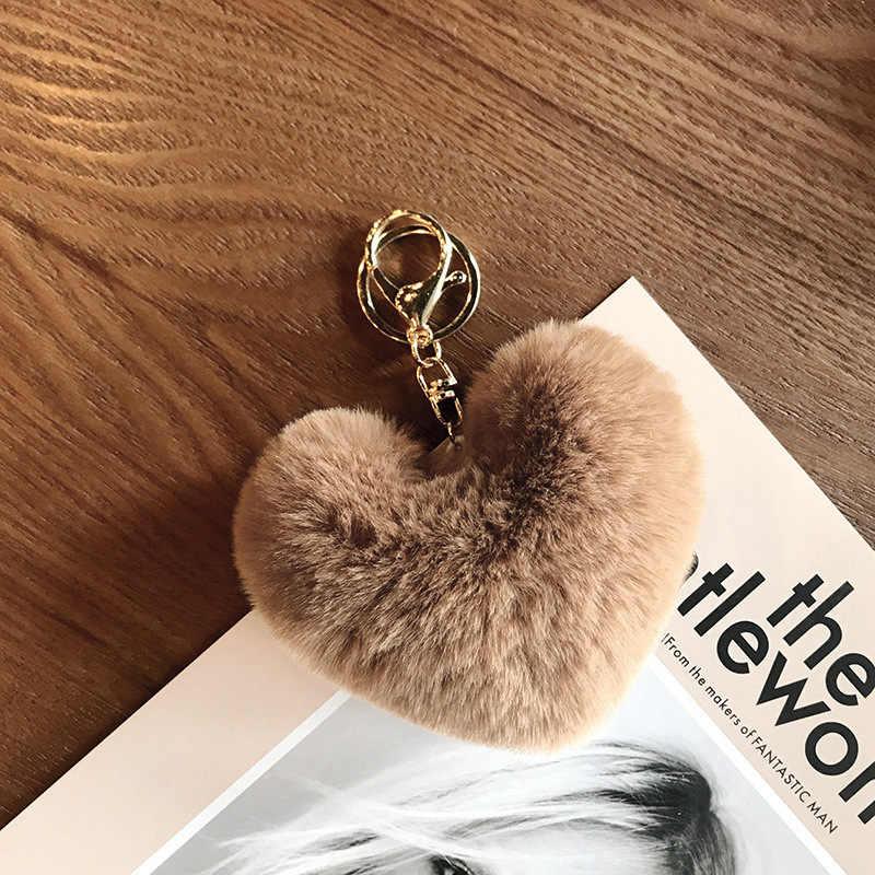 8 CENTÍMETROS Bonito Fluffy Pompons Faux Rex Rabbit Fur das Mulheres Do Coração Chaveiros Chaveiros Saco Menina Pendurar Carro acessórios Da Jóia do Anel chave