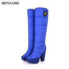 Nemaone 20017 модные женские туфли зимние мягкие на низкой танкетке Теплые меховые ботинки на платформе с круглым носом женские зимние ботинки до середины голени