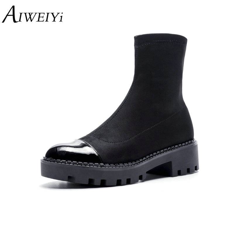 AIWEIYi Women Suede Leather Boots Black Women's Chelsea Boots Slip on Ankle Boots for Women Brand Chaussure Bottes Femme