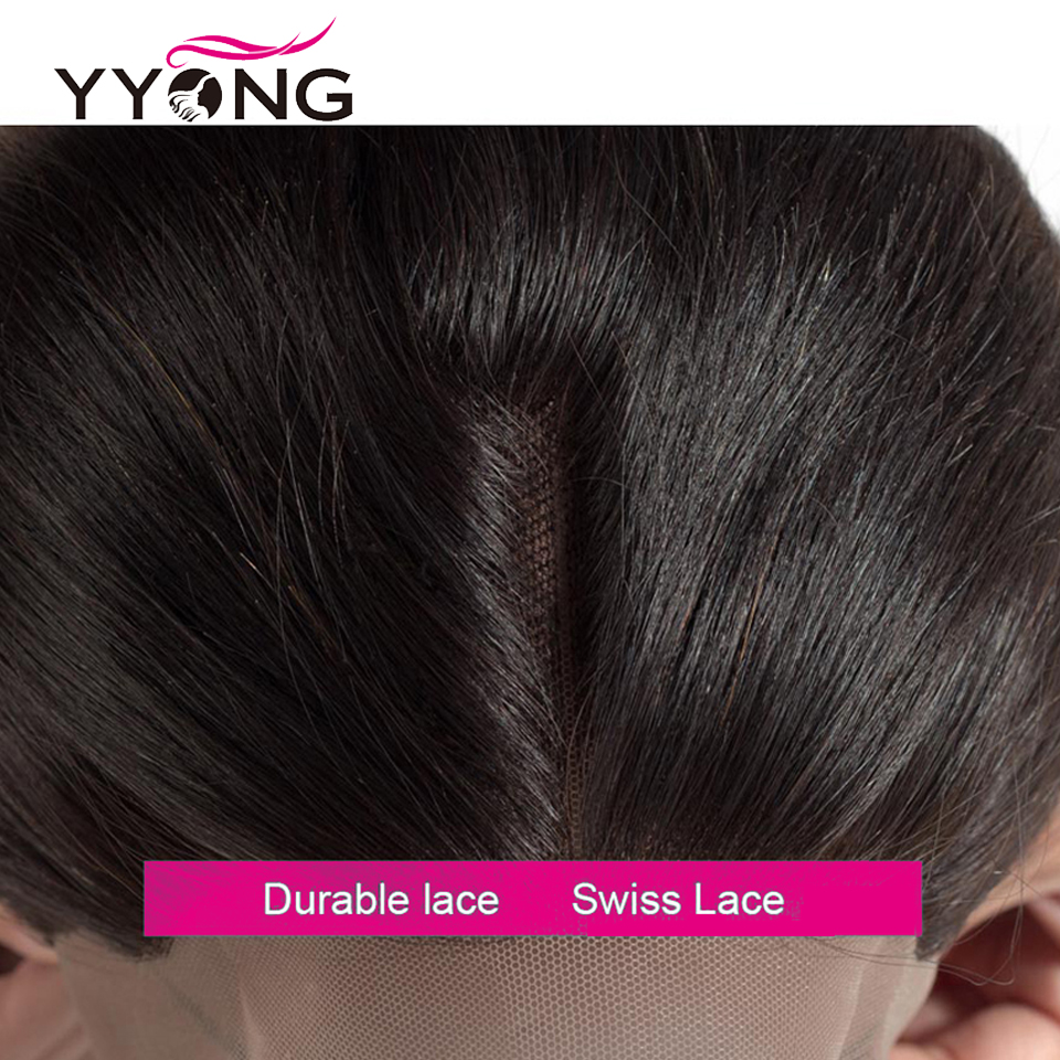 Yyong Hair  Straight Lace Frontal Closure 13*4 Ear To Ear Free/Middle/Three Part Swiss Lace Closure   5