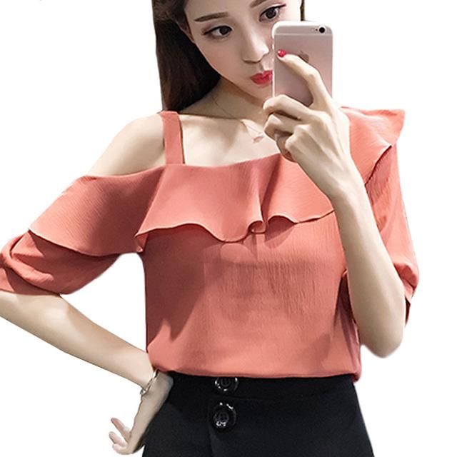 2017 half sleeves slash neck solid chiffon women blouse fashion lotus leaf Strapless casual sweet women shirt top blusas 123J 30