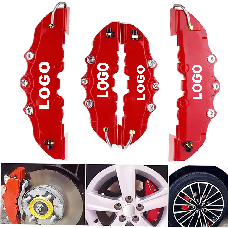 4PCS Car Auto Disc Brake Caliper Cover With 3D Word Universal Kit Fit to 14-18 Inches Car 2 M and 2 S Red Brake cover For Brembo