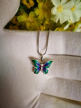 100% 925 Sterling Silver Necklace Women Butterfly Enamel Necklaces For Jewelry Fine