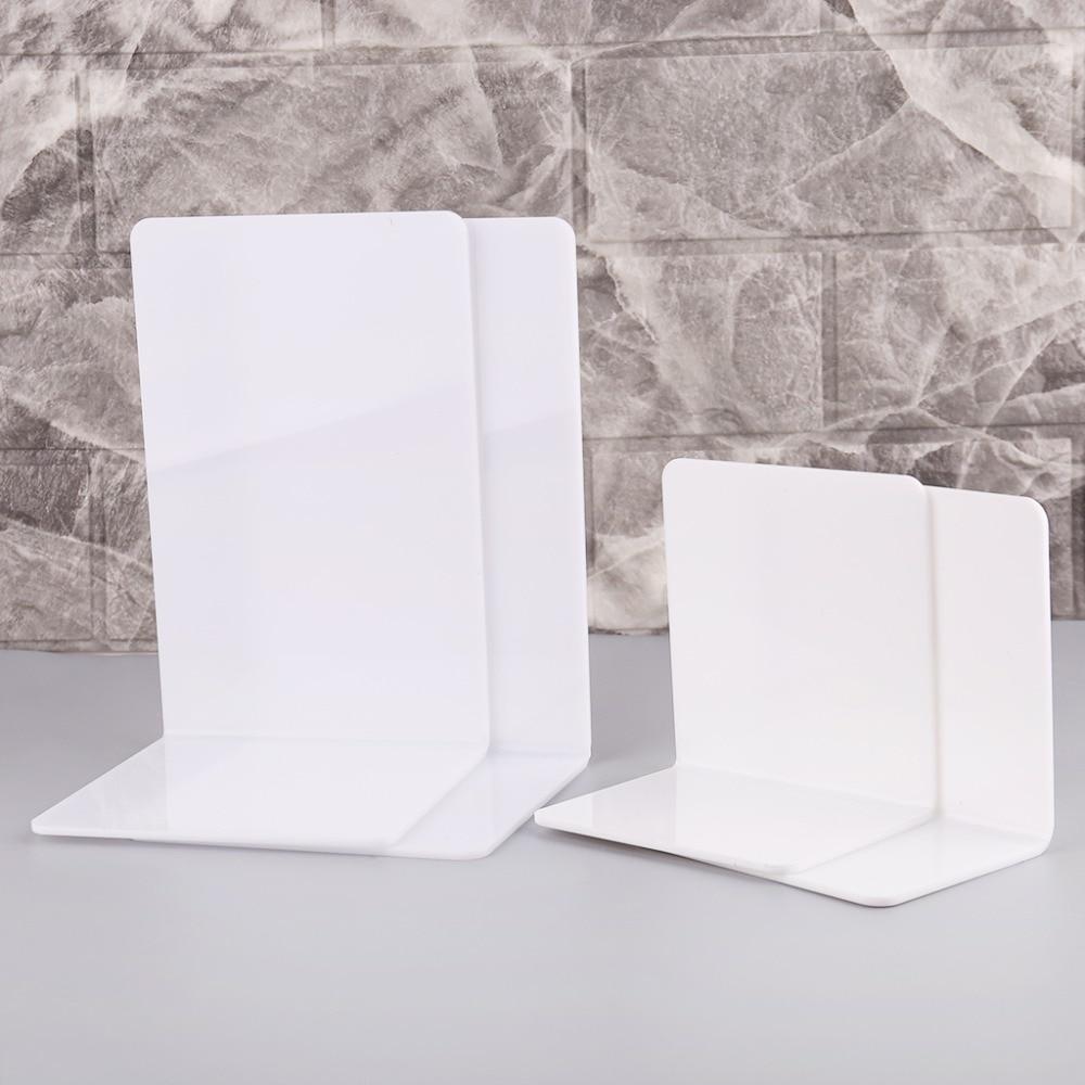 Rapture 2pcs White Acrylic Bookends L-shaped Desk Organizer Desktop Book Holder School Stationery Office Accessories Novel In Design;