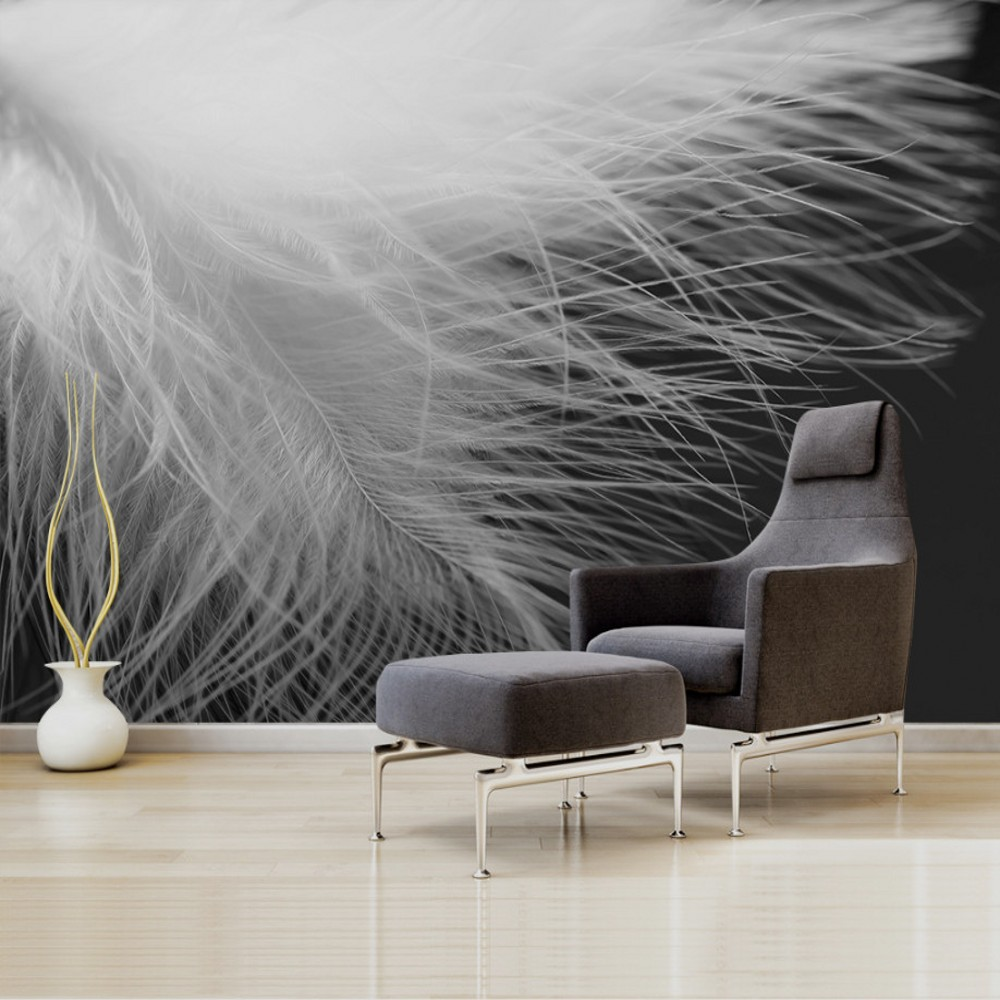 цены Free Shipping Modern Simple Black White Feathers Wall Background Wallpaper Abstract Graphic Decorative Mural Custom 3d Wallpaper