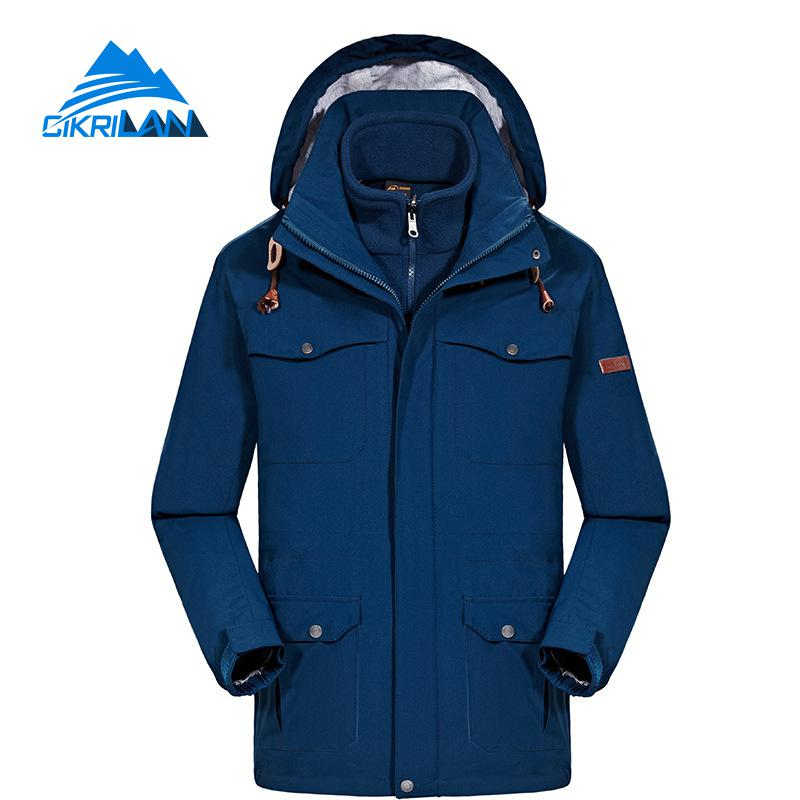 Mens Long Winter 3in1 Windstopper Waterproof Outdoor Jacket Men Hiking Camping Ski Fleece Liner Coat Climbing Jaqueta Masculino hot sale camping climbing kids 3in1 outdoor sport waterproof jacket girls boys hiking coat ski casaco 8 16y child fleece liner