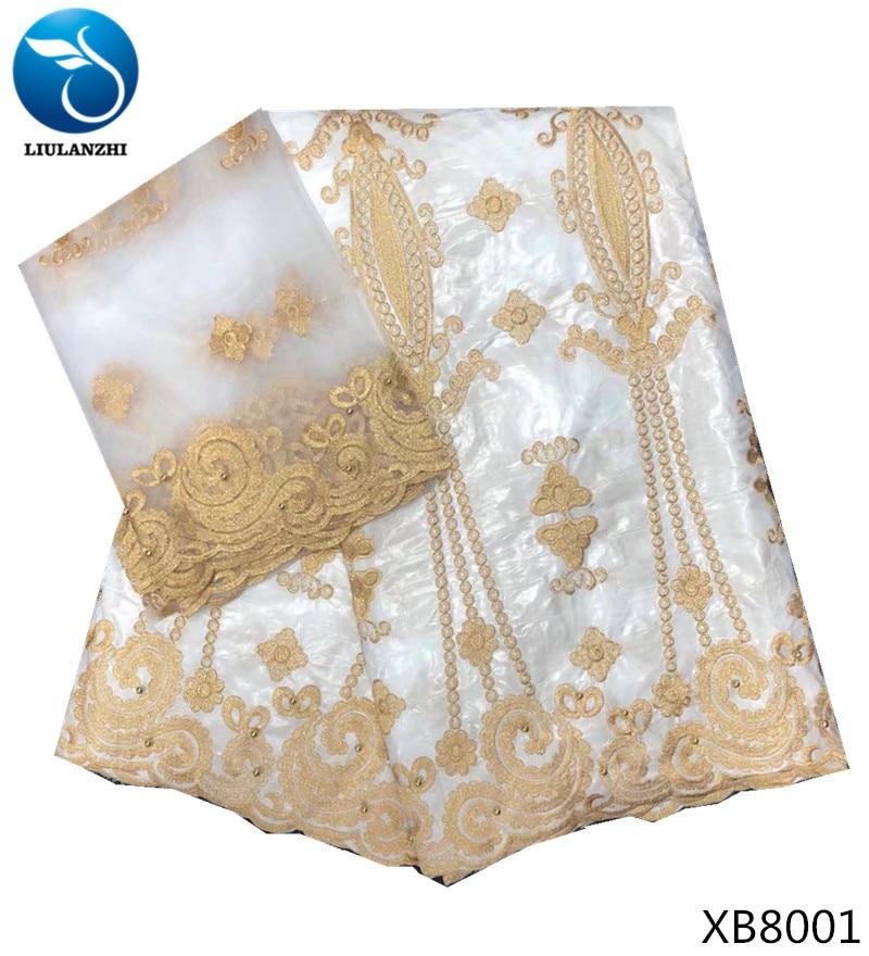 LIULANZHI bazin riche getzner 2018 tissu de coton blanc tissu jacquard brocart tissu avec perles de haute qualité 7 yards/lot 6B80