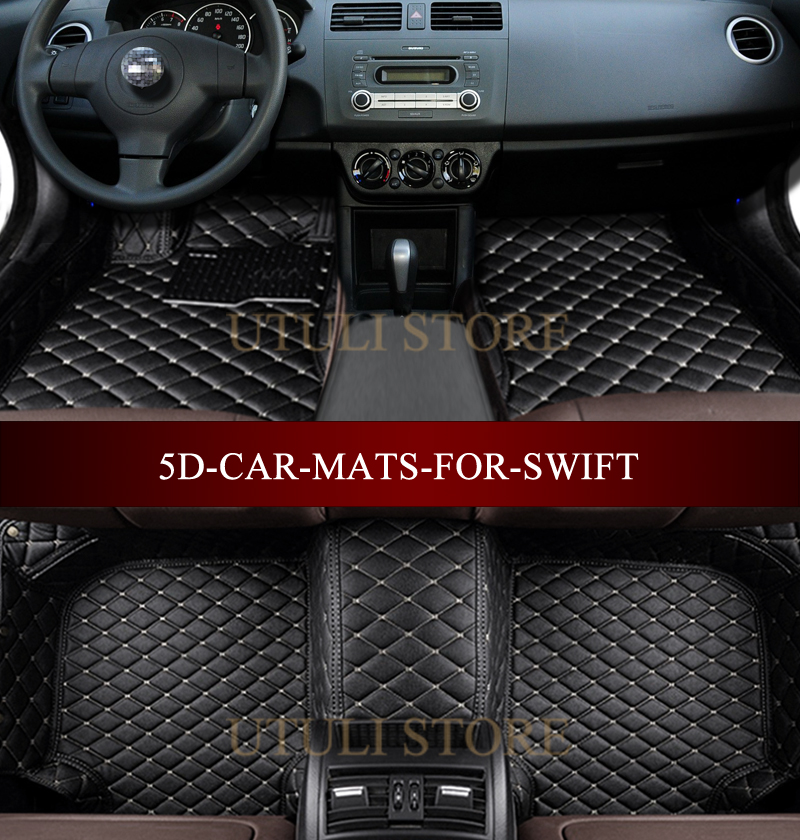 Leather Car floor mats for Suzuki Swift Sport custom fit car carpets foot mats liners auto floor mats for honda cr v crv 2007 2011 foot carpets step mat high quality brand new embroidery leather mats