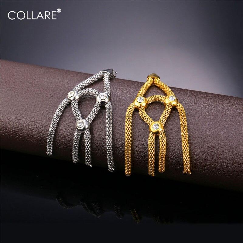 Collare cristal borlas pendientes para las mujeres oro amarillo Color acero  inoxidable joyería de moda pendientes de gota del Rhinestone E190 ed29df7bd6be