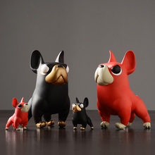 Creative french bulldog Figurines black/red  Lovely animal PVC dog Miniatures tabletop crafts home decoration accessories